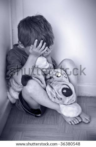 Concept of child abuse - stock photo
