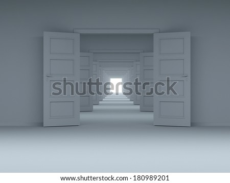 concept of choice, and new opportunities, innovation, achieve the goal of climbing to new heights. Door in the wall. - stock photo
