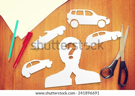 Concept of choice what kind of car to buy - stock photo