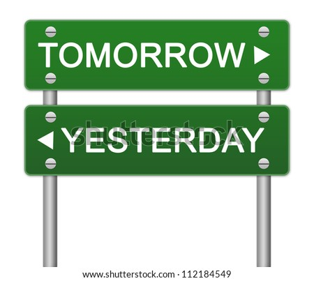 Concept of Choices Present By Green Street Sign Pointing to Tomorrow and Yesterday Isolated On White Background - stock photo