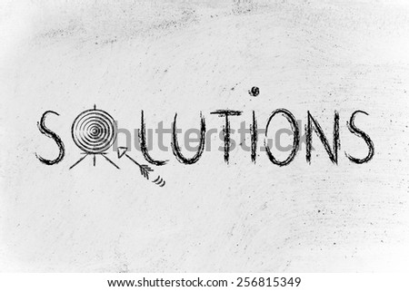 concept of choosing the best solution, target illustration - stock photo