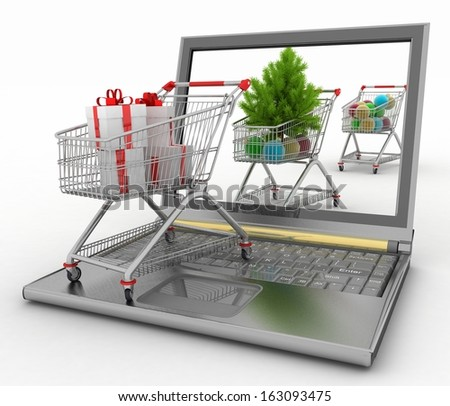 Concept of Christmas online shopping. 3d illustration. Laptop computer with festive shopping carts on white background - stock photo
