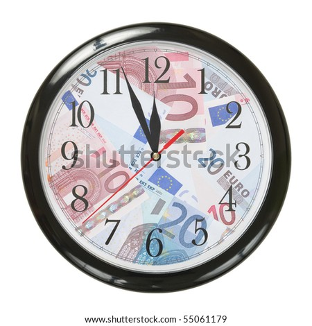 concept of clock an banknotes isolated on white background - stock photo