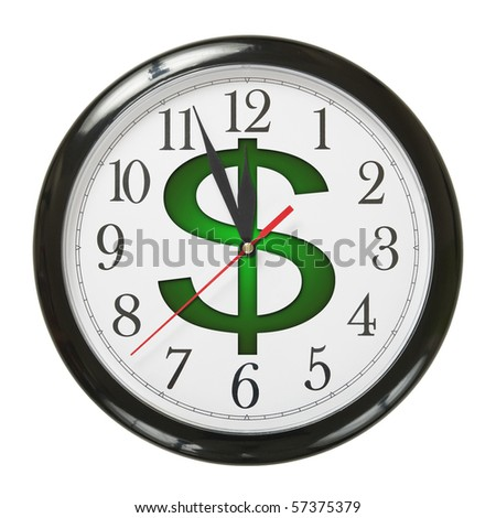 concept of clock and dollar symbol isolated on white background - stock photo
