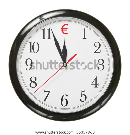 concept of clock and euro symbol isolated on white background - stock photo