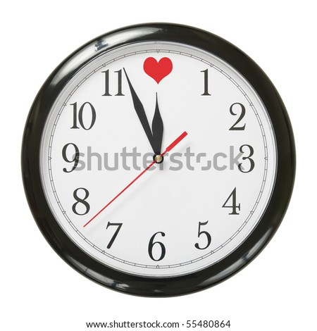 concept of clock and love symbol isolated on white background - stock photo