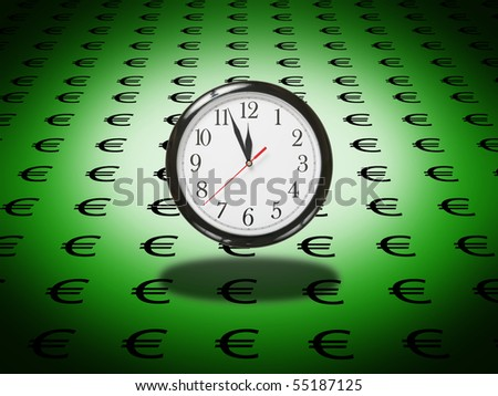 concept of clock on a background of euros symbol