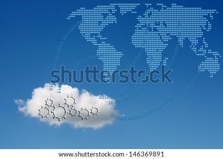 Concept of cloud computing. - stock photo