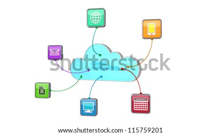 Concept of cloud computing with data going to and from the cloud from various appliances. - stock photo
