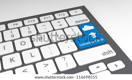 Concept of cloud computing with modern keyboard. - stock photo