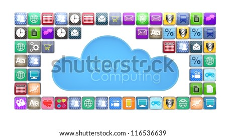 Concept of cloud computing with various apps.  Note to reviewer: Smartphone and icon graphics are designed by the contributor. - stock photo