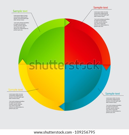 Concept of colorful circular banners with arrows for different business design.  Raster version illustration