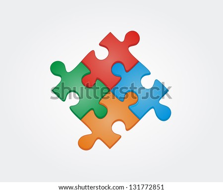 Concept of colorful puzzle pieces with place for yuor text.  Raster version, vector file available in portfolio. - stock photo