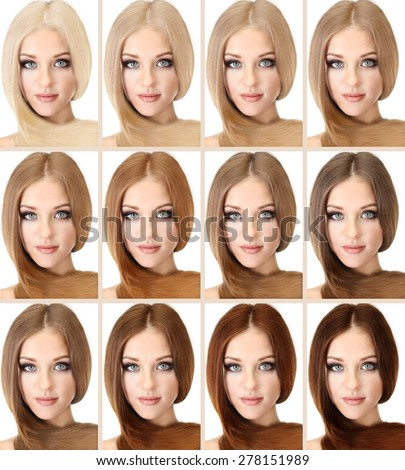 Concept of coloring hair. Portraits of beautiful woman with long hair - stock photo