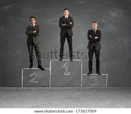 Concept of competition with businessman on podium - stock photo