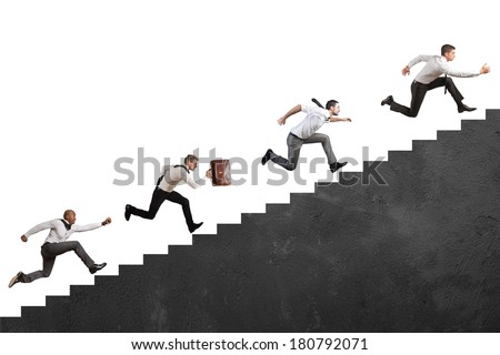 Concept of competition with Businesspeople that climbs high stairs - stock photo