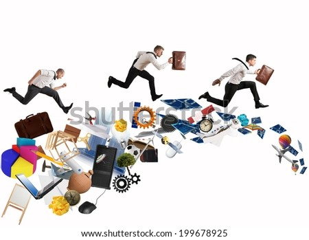 Concept of competitive business with running businessman - stock photo