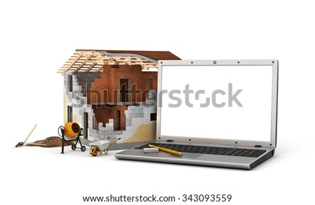 Concept of computer design. Laptop with white blank screen near house in building process with construction tools. - stock photo