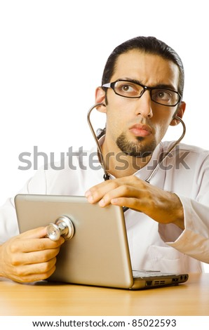 Concept of computer diagnostics on white - stock photo