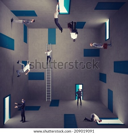 Concept of confusion and right strategy of a businessman - stock photo