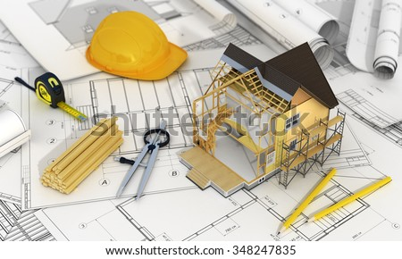 Concept of construction and architect design. 3d render of house in building process with tree, calculator and pencils on the blurred blueprints. We see constituents of roof frame and insulation layer - stock photo