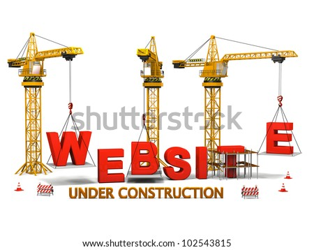 Concept of construction cranes building a website isolated on white background - stock photo