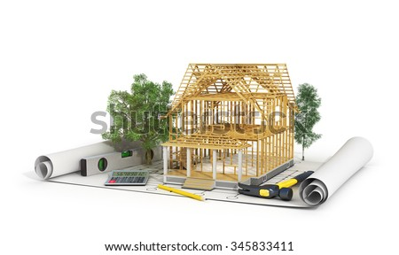 Concept of construction. 3d render of house in building process with trees, calculator and pencil on the blueprint. We see constituents of roof frame and insulation layer. - stock photo
