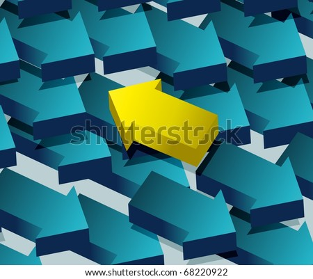 Concept of contradiction. Arrows pointing to an opposite direction. - stock photo