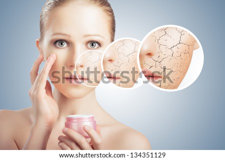 concept of cosmetic effects, treatment and skin care.  face of young woman with dry skin - stock photo