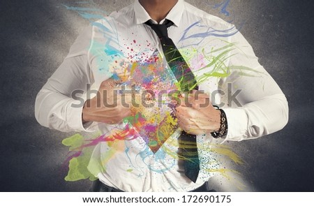 Concept of Creative business with colorful effect - stock photo