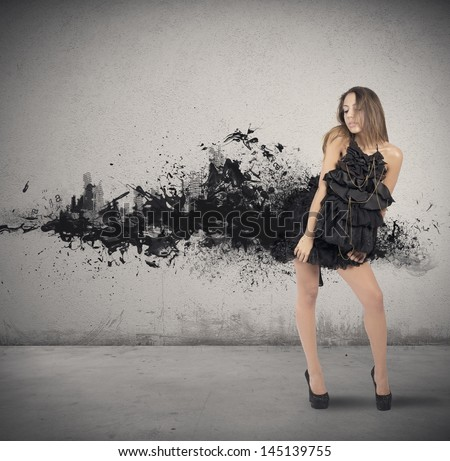 Concept of creative fashion style with motion effect