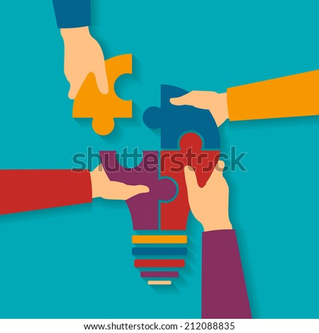 Concept of creative teamwork with light bulb puzzle and human hands - stock photo