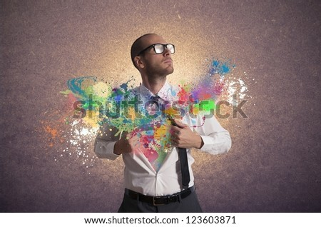 Concept of creativity and power in business - stock photo