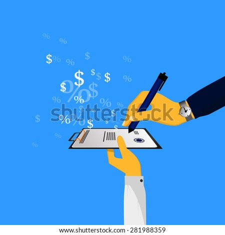 concept of credit, banks, transfer of funds - stock photo