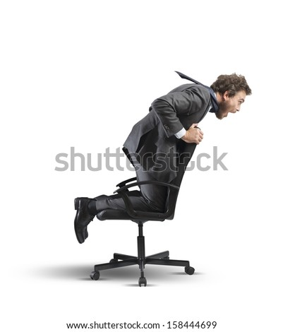 Concept of crisis and financial difficulty with businessman  over the chair