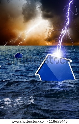 Concept of crisis, lightning struck new abstract house, house sinks, dark moody sky - stock photo