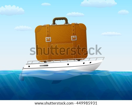 Concept of cruise traveling by sea. Suitcase on yacht sailing. Qualitative illustration about travel, cruise, tourism, sailing, vacation, trip, etc - stock photo