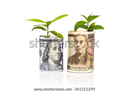 Concept of currency growth rate and performance between US Dollar and Japanese Yen with green plant as analogy - stock photo