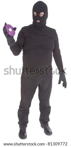 concept of data thief isolated on white background - stock photo