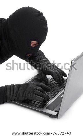 concept of data thief with laptop isolated on white background - stock photo