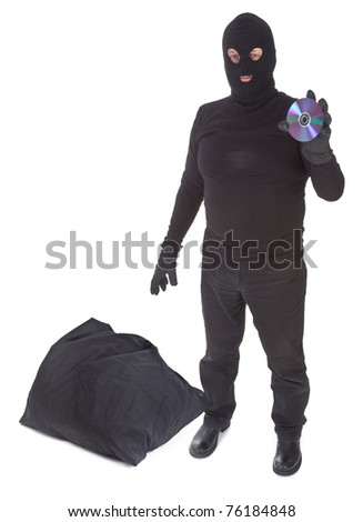 concept of data thief with sack isolated on white background - stock photo