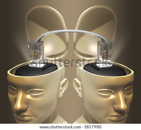 Concept of data transfer or communication between two head. The cable is the same of internet and telephone. - stock photo