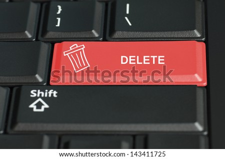 Concept of delete call to  action. The focus is on the enter key with the shift button on the bottom - stock photo