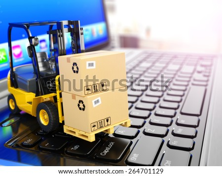 Concept of delivering, shipping or logistics. Forklift on laptop keyboard. 3d - stock photo