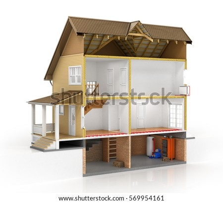 Concept Design Sliced House Isolated Layers Stock Illustration