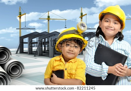 Concept of designing and building an industrial factory or a warehouse - stock photo
