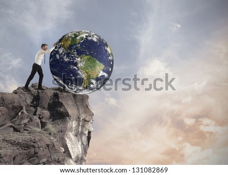Concept of destruction of the world earth  furnished by NASA - stock photo