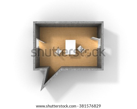 Concept of dialog. Idea of speaking. Room in form of dialog with two doors and table with chairs. Two entry in room for speak. - stock photo