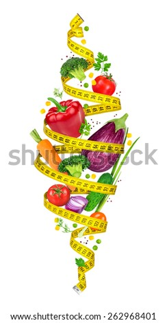 Concept of diet. Measuring tape spiral twists vegetables in the air on a white background - stock photo