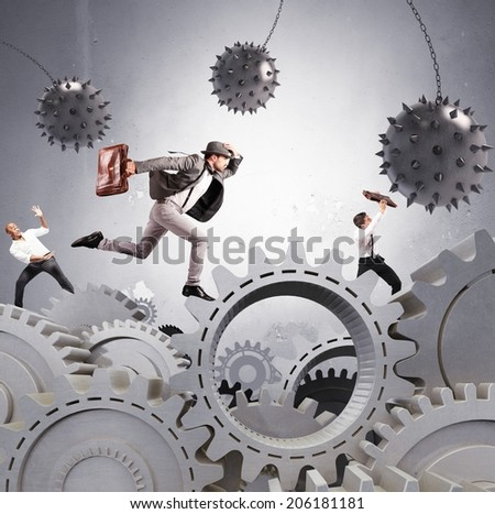 Concept of difficult career of a businessman - stock photo